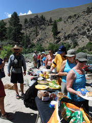Adventure Sun Valley guests enjoying a gourmet lunch on the Middle Fork